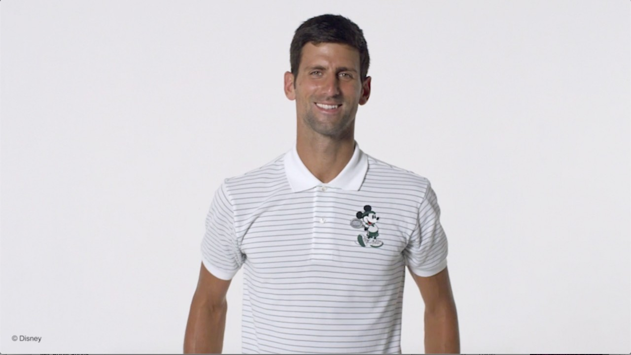 6e7f6ff525146a ... Novak Djokovic alongside bespoke Mickey animation to showcase the new  Mickey and Minnie capsule collection by Lacoste. The unique collaboration  brings ...