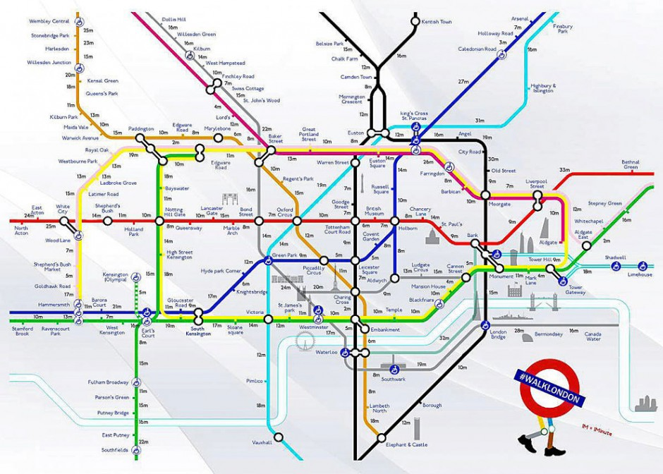 London Landmarks Map.London Creative Duo S Walking Tube Map Helps Keep The Capital