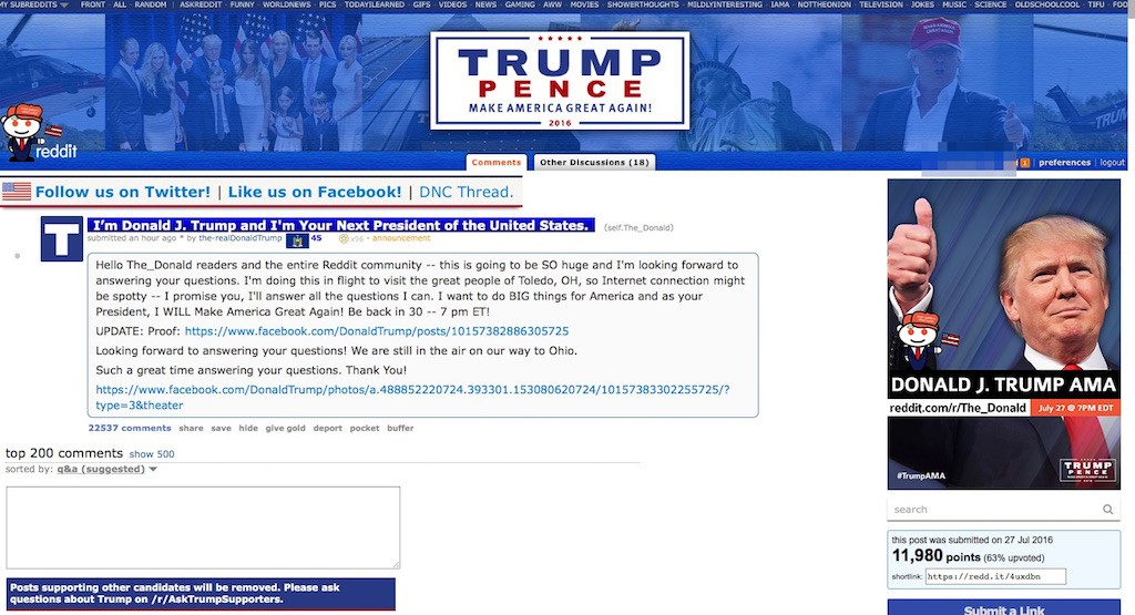 Make America Wait Again! Donald Trump's Reddit AMA scrubbed of