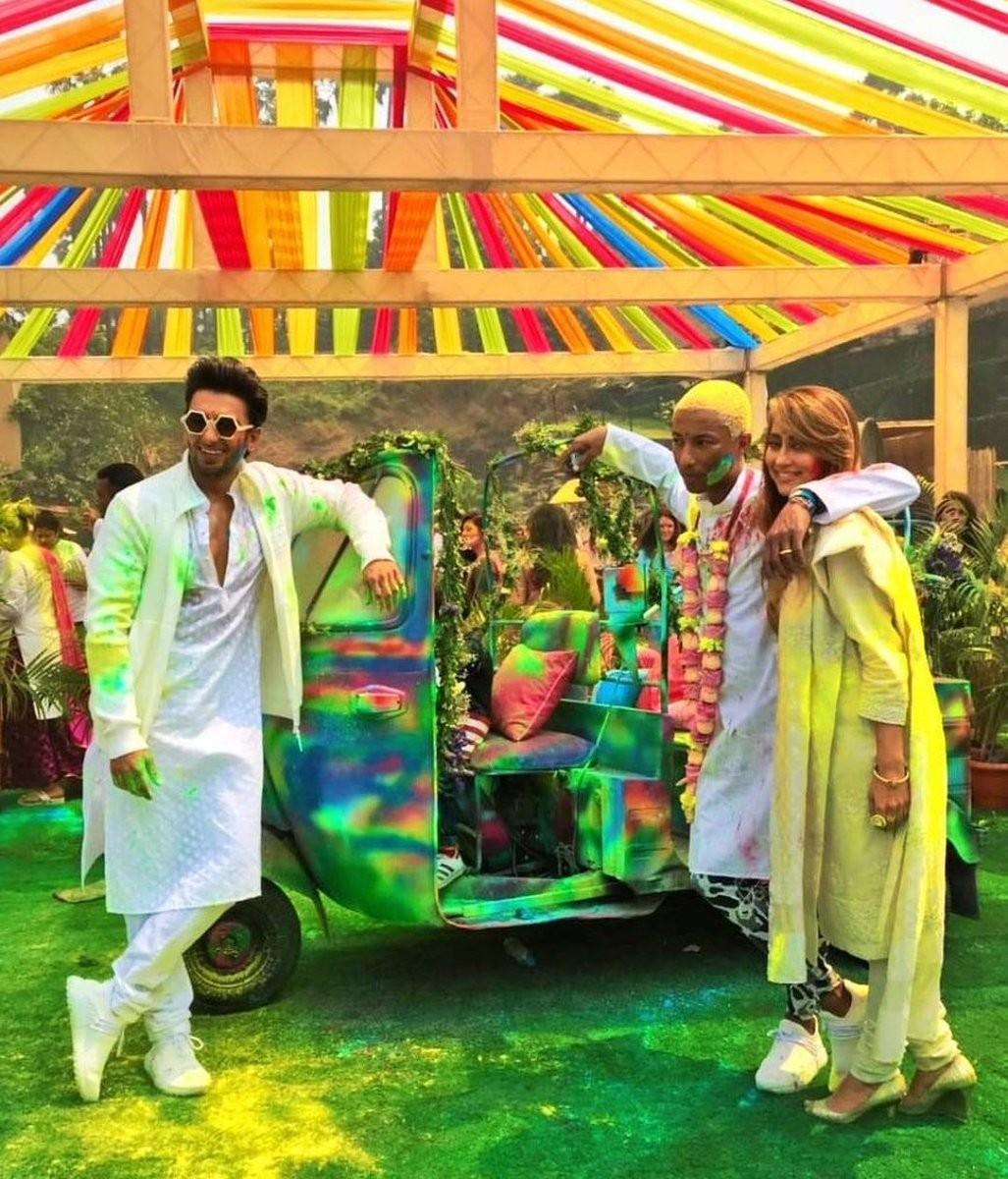 0743cdedf9608 Pharrell Williams celebrates Holi festival with Ranveer Singh for Adidas  Originals