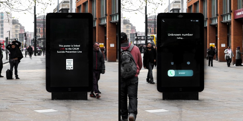 Calm stunt shows incoming helpline calls in real time to shatter 'call for help' stigma