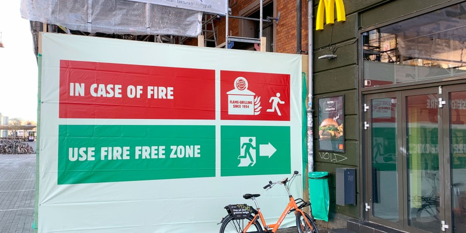 Burger King teases McDonald's with well-placed fire safety billboards